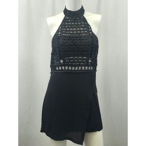 Missguided Crochet Faux Wrap Black Romper NWT